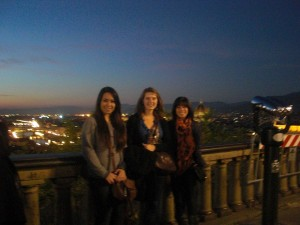 Me and my friends Candie and Ashley, overlooking the night lights of Florence, Italy.